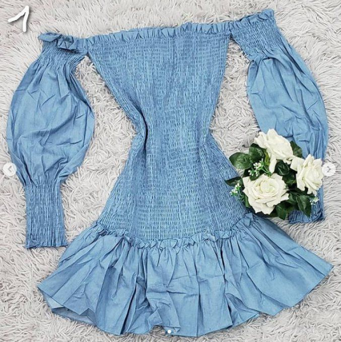 robe manche longue denim style smocks